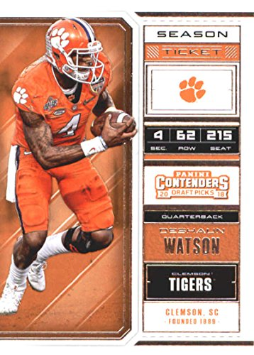 Tickets Tigers Football (2018 Panini Contenders Draft Picks Season Ticket #33 Deshaun Watson Clemson Tigers Football Card)