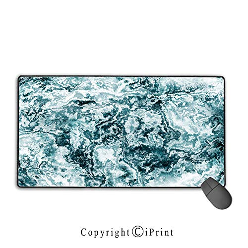 Waterproof coated mouse pad,Marble,Abstract Rock Texture Modern Stylized Retro Splashes Antique Dark Design Decorative,Jade Green Teal White,Premium textured fabric, non-slip rubber base Mouse pad wit