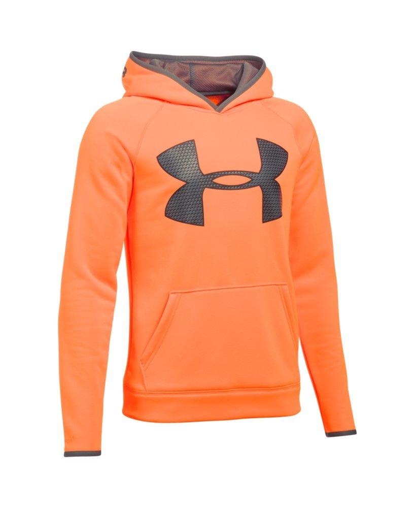 Under Armour Boys' Storm Armour Fleece Highlight Big Logo Hoodie, Blaze Orange (826)/Graphite, Youth Small