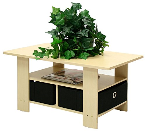 Steam Beech/Black Coffee Table w/Bin Drawer