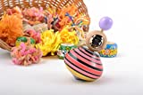Bright Small Striped Handmade Wooden Spinning Top For Children