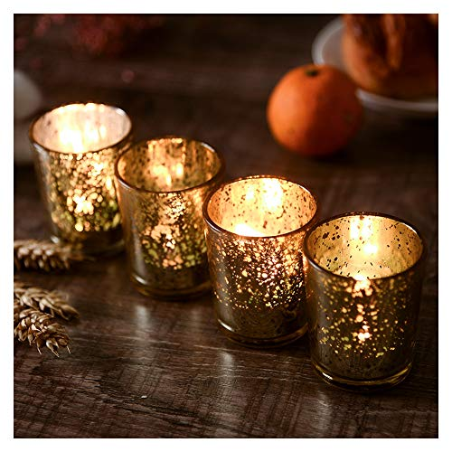 Supreme Lights Mercury Votive Candle Holders, Speckled Glass Tealight Holder, 2.45-inch Tall(Set of 12, Gold)