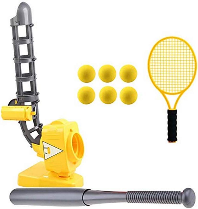 LGFB Portable Kind Tennis Baseball Pitching Machines Outdoor-Sport-Spiel Automatische Ballmaschine Geben Sie einen Baseballschl/äger Tennisschl/äger und 6pcs Ball