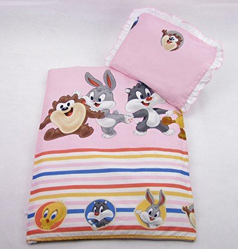 4 tlg. Set Bezug für Kinderwagen Garnitur Bettwäsche Decke + Kissen + Füllung (Disney Rosa)