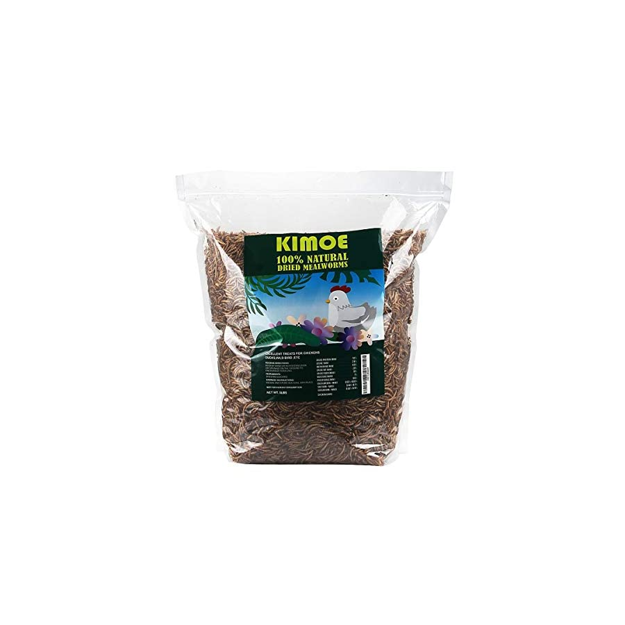 kimoe 5LB 100% Natural Dried mealworms for Wild Birds, Chicken 2
