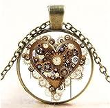 Meenanoom Vintage Steampunk Heart Photo Glass Bronze Chain Pendant Necklace