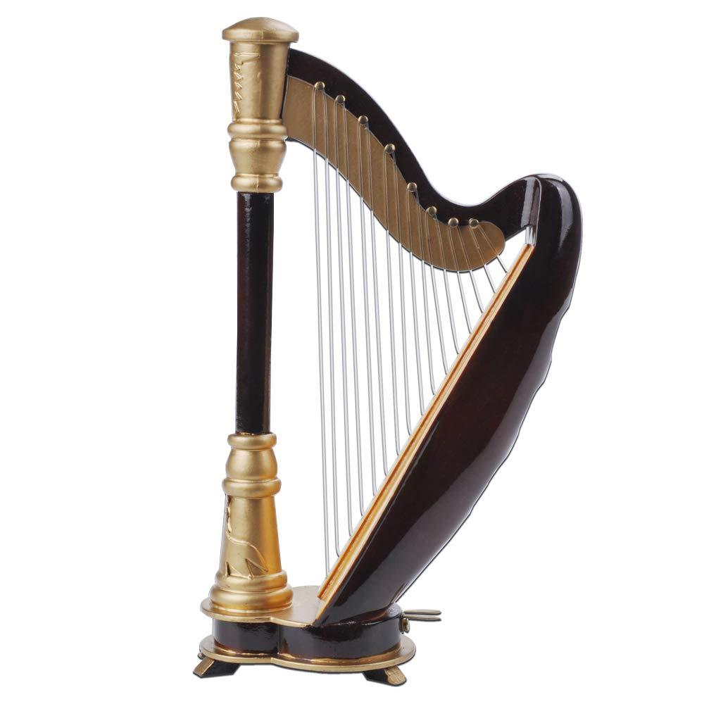PUNK 1:12 Scale Miniature Instrument Music Case Stand Miniature Musical Instrument (Harp:8x14x4.5cm) by PUNK