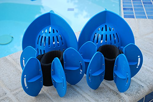 Aqualogix Total Body Aquatic Exercise System - Includes Online Demonstration Video (Maximum Resistance Blue Bells/Maximum Resistance Blue Fins) by AquaLogix