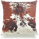 "Hofdeco Store Decorative Throw Pillow Cover PREMIUM Short Plush Fall Decor Tri Color Brown Southwestern Cowhide Print 18""x18"" 45cm x 45cm"