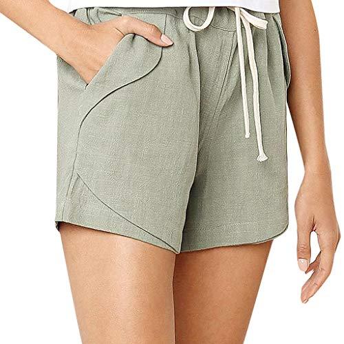 Gogoodgo Women Plus Size Solid Loose Hot Pants Pockets Lady Summer Casual Shorts