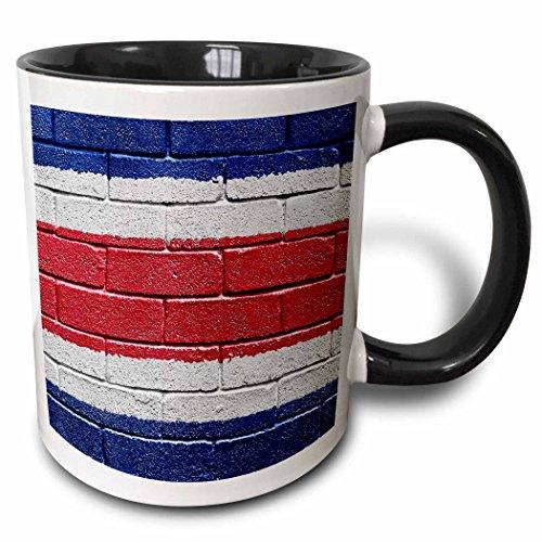 3dRose 155211_4 National flag of Costa Rica painted onto a brick wall Mug, 11 oz, Black