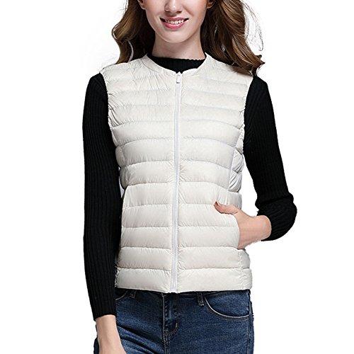 Bianco Cappotto Packable Cerniera Con Gilet Bodywarmer Giacca Giù Donne Gilet Ultraleggero Maniche Zhuikun Senza qpAOFwn