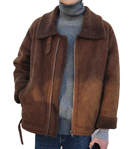 ARTFFEL-Men Warm Faux Suede Sherpa Lined Bomber Coat Jackets Outwear Coffee M - Brown Sherpa Jacket