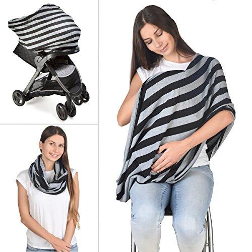 Nursing Scarf Breastfeeding Cover Stylish - Car Seat Cover Canopy, Stroller, Multi-Use Stretchy Breathable Lightweight Shawl for Girls and Boys (Black Grey Stripe)