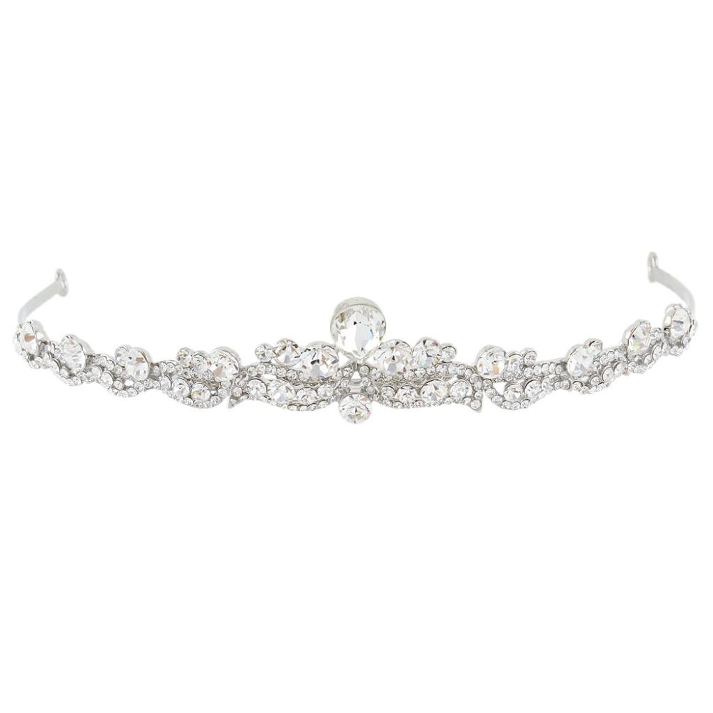 EVER FAITH Women's Austrian Crystal Wedding Teardrop Hair Tiara Headband Clear Silver-Tone