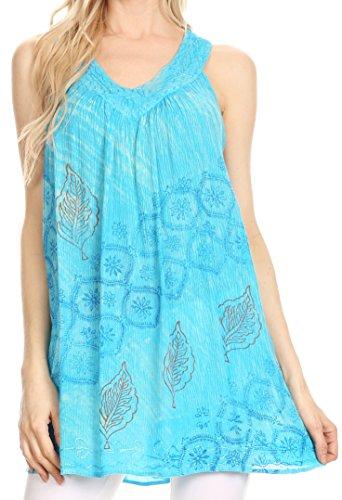 Sakkas 91 - Lea V-Neck Crinkle Sleeveless Embroidered Tank Top - Turq - (Crinkle Cotton Sleeveless Top)