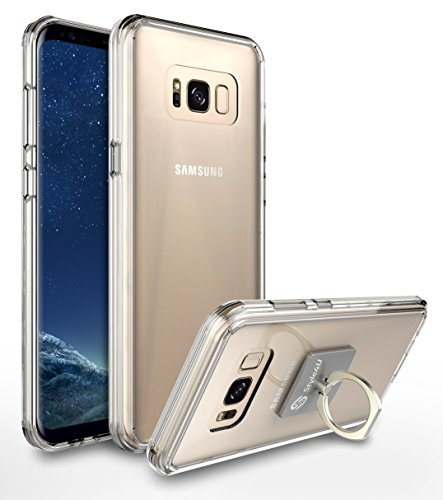 Galaxy S8 Case, Style4U Scratch Resistant Shock Absorbent Ultra Slim Transparent Crystal Clear PC Back TPU Bumper Protective Case Cover for Samsung Galaxy S8 with 1 Ring Holder Kickstand [Clear]