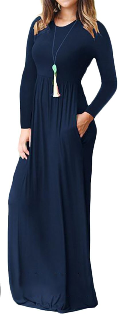 Cruiize Womens Classic Crewneck Solid Long Sleeve Ruched Maxi Dress Jewelry Blue XXS