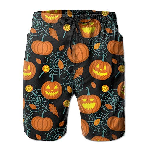 Mens Beach Shorts, Halloween Spiders Pumpkin Miami Cute Shorts for Men Boys, Outdoor Short Pants Beach Accessories, White -