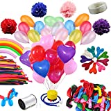 YYKIT 157 Pcs Assorted 3 Style Pearl Latex Balloons Set Tissue Paper Pom Poms for Birthday Party Wedding Decorations Portable Ballon Inflator, White Curling Ribbon,Glue Dots