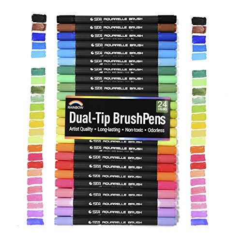 Rainbow Premium Dual Tip Artist Markers - 24 Unique Watercolor Drawing Pens - Great Gift - Fineliner & Brush Tips - Water Based Ink - Non Bleed - Art Set for Drawing, Coloring, Journaling, Lettering