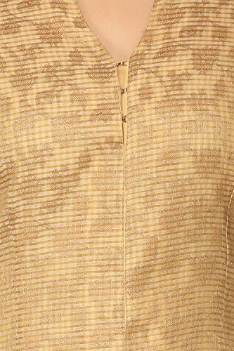 BIBA Women's Front Open Poly Cotton Suit Set 42 Beige by Biba (Image #5)