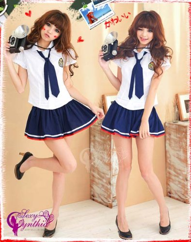 Sailor Girl Uniform Cosplay Costume [school uniform] with socks (japan import)
