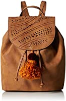 T-Shirt & Jeans Flap Back Pack with Pom, Cognac