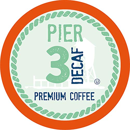 Pier 3 Light Roast Decaf Coffee Pods, Compatible with 2.0 K-Cup Brewers, 100 Count
