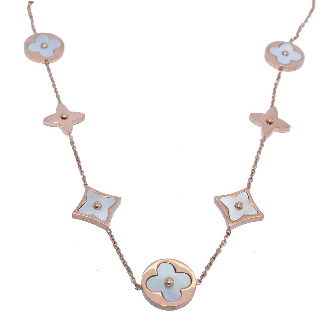 Baoliren White Shell Rose Gold Tone Round Multi Clover Women's Strand Necklace by Baoliren