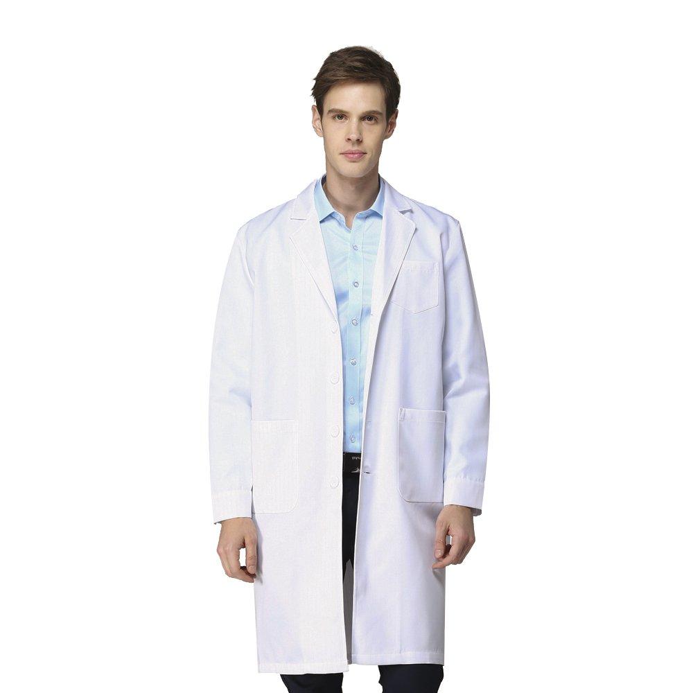 Camici da Lavoro Uomo Bianchi di Cotone Pesante Piquet per Scuola Chimica Dottore Sanitario