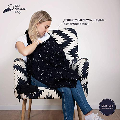 Cotton Nursing Cover - Large Breastfeeding Cover with Built-in Burp Cloth & Pocket - Soft, Breathable, Chemical-Free, 360° Coverage, Black Nursing Cover for Breastfeeding by San Francisco Baby