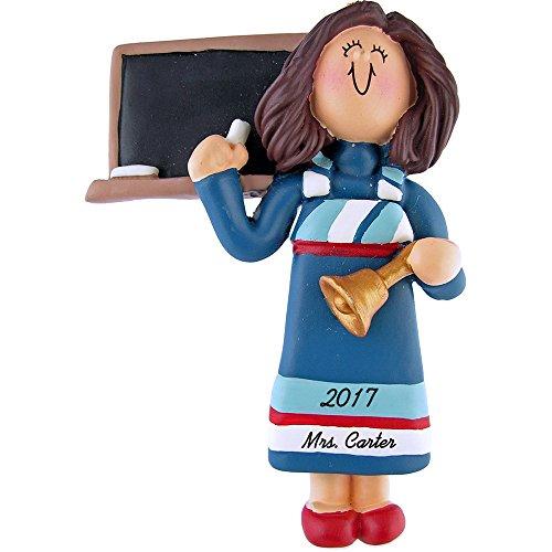 Teacher Personalized Christmas Ornament - Female - Brown Hair - Blue Dress- 4