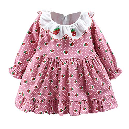 Toddler Girl Ruffle Autumn Winter Dress,Crytech Warm Thick Long Sleeve Lovely Cute Cherry Strawberry Print One Piece Princess Skirt for Baby Girl Party Casual Clothes (3-4 Years, Pink)