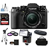 Fujifilm X-T2 Mirrorless Digital Camera with 18-55mm Lens Bundle, Includes 128GB Extreme PRO SDXC Memory Card + Camera Bag + Tripod + more...