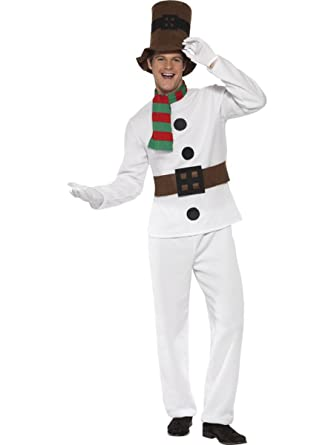 be00380718451 4 Piece Men s Frosty The Snowman Costume Top   Pants w Accessories White