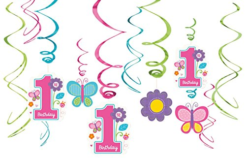 Amscan Sweet Birthday Girl 1st Birthday Value Pack Foil Swir