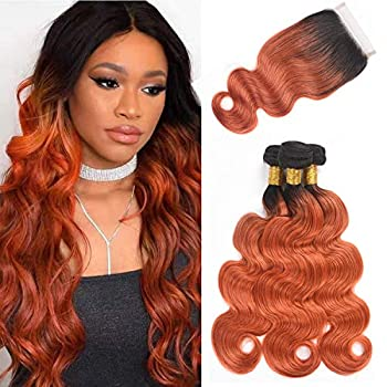 Image of Brazilian Body Wave Human Hair Ombre Bundles With Closure, 2 Tone Virgin Brazilian Hair 3 Bundles With Closure 4x4 Lace Closure Hand Made (18 20 22 + 16, T1B/350) Health and Household