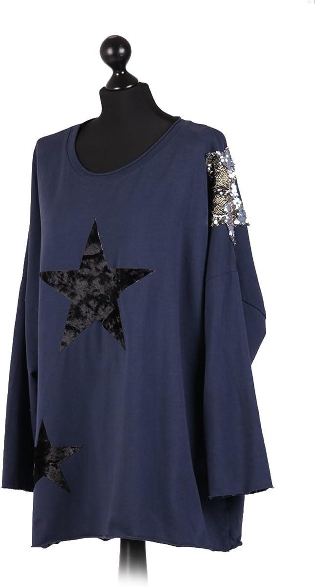 New Ladies Italian Tunic Velvet Star Sequin Shoulder Womens Lagenlook Cotton Top