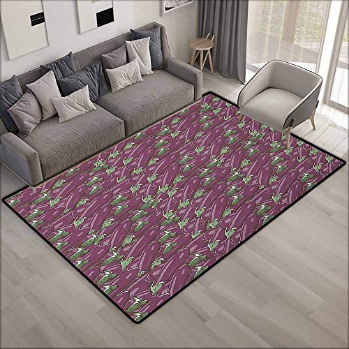 Living Room Area Rug,Eggplant Retro Inspired Stacks of Delicious Eggplants Product of Nature Ingredient Cusine Food,Extra Large Rug,5'6