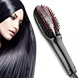 ESO Anion Hair Straightener Brush with Spay, New Ceramic Faster Heating Hair Styling Comb, Anti-Static Anti-Scald Massage Straightening Irons (Black)