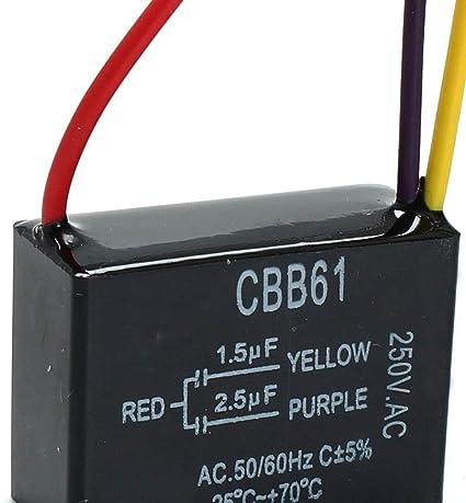 1 condensador de ventilador negro CBB61 1,5 uF + 2,5 uF 3 cables AC 250 V 50/60 Hz condensador para ventilador de techo: Amazon.es: Coche y moto