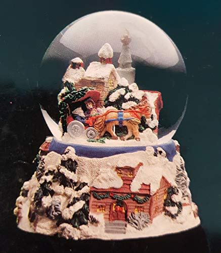 (Musical Snow Covered Christmas Village with Santa - Sculptured Resin Water Ball Music Box 5 3/4