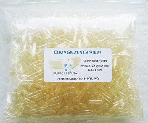 "PurecapsUSA Empty Gelatin Capsules – Size ""0"" – 1000 Fillable Caps – Kosher/Halal – Hypoallergenic – GMO Free"