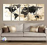 Original by BoxColors Xlarge 30''x 70'' 5 Panels 30x14 Ea Art Canvas Print Watercolor Black Beige Map World Push Pin Travel Wall decor ( framed 1.5'' depth) M1827