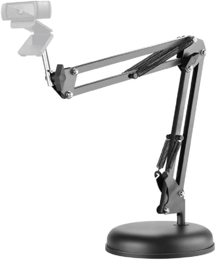 Liifeng Adjustable Desktop Suspension Boom Scissor Arm Stand Holder with Round Base for Logitech Webcam C922 C930e C930 C920 C615