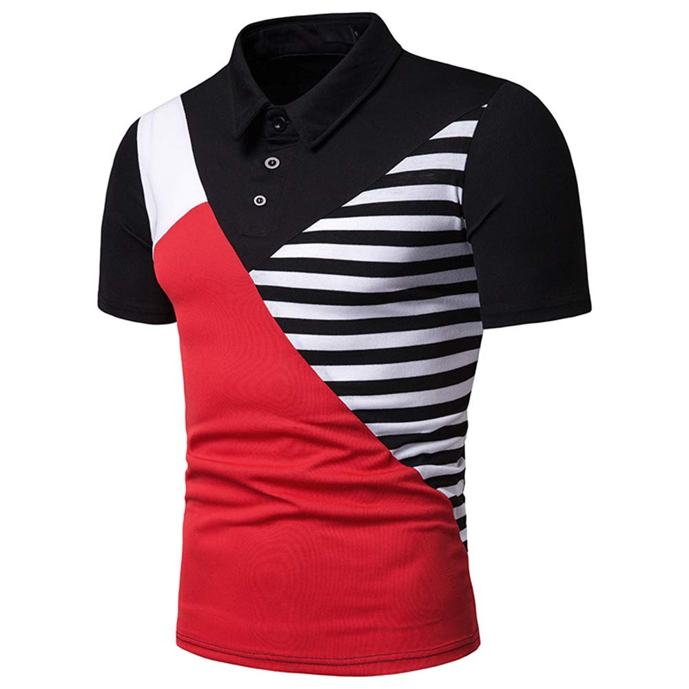 HERW Mens Polo Shirt Patchwork Casual Slim Fit Short Sleeve Polos Men