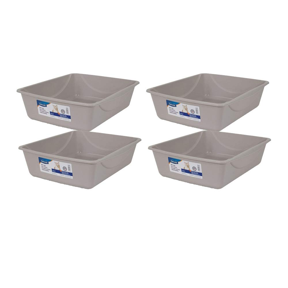 Doskocil Petmate Litter Pan, Blue Mesa/Mouse Grey, Large (Large - 4 Pack, Blue Mesa/Mouse Gray) by Doskocil