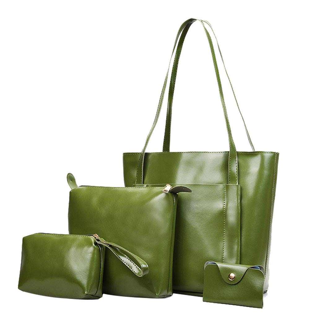 Green 4Pcs Ladies Leather Tote Bag Soft Leather Handbag Zipper Anti-Theft Design Briefcase Retro Simple Daily Office Commute Ladies Shoulder Bag Crossbody Bag Pouch Card Package (Green)