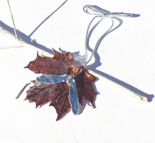 LCD Designs Real Copper Dipped Sugar Maple Leaf & Silver Dipped Maple Seed Holiday Ornament Decor USA Made
